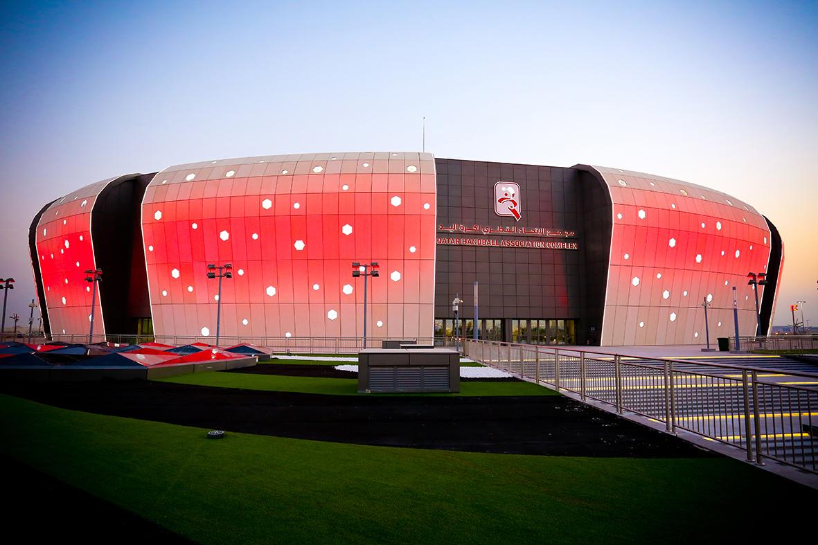 Qatar handball complex iluminación roja
